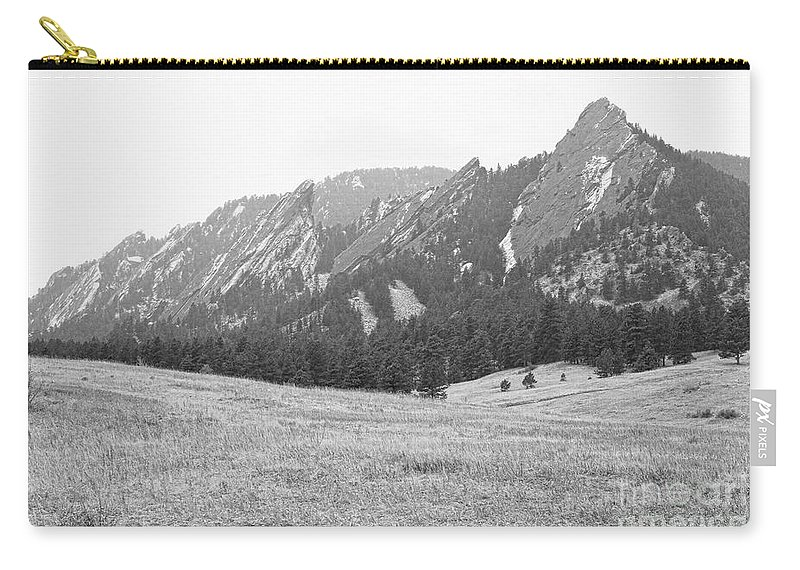 Flatirons Carry-all Pouch featuring the photograph Winter Flatirons View Boulder Colorado Bw by James BO Insogna