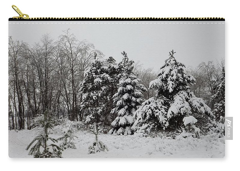 Snow Carry-all Pouch featuring the photograph Winter Forest by Linda Kerkau