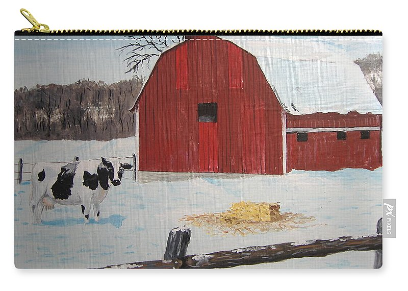 Barn Carry-all Pouch featuring the painting Winter Haven by Norm Starks