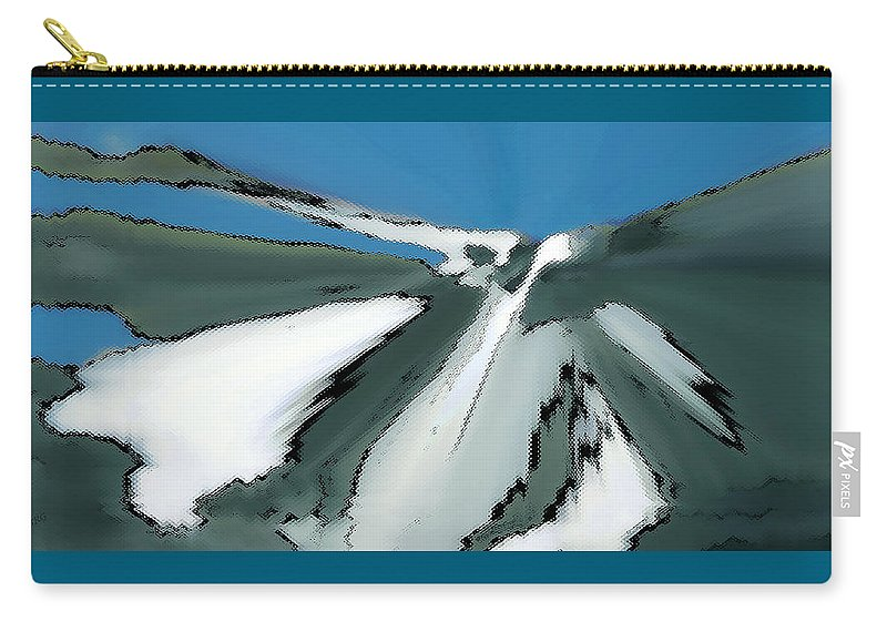 Winter Landscape Carry-all Pouch featuring the digital art Winter In The Mountains by Ben and Raisa Gertsberg
