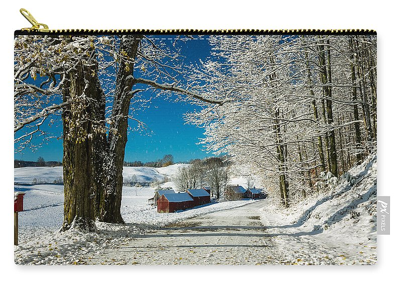 Barn Carry-all Pouch featuring the photograph Winter In Vermont by Edward Fielding