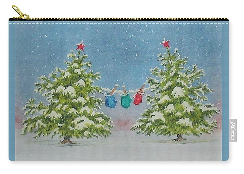 Fun Carry-all Pouch featuring the painting Winter Is Fun by Mary Ellen Mueller Legault