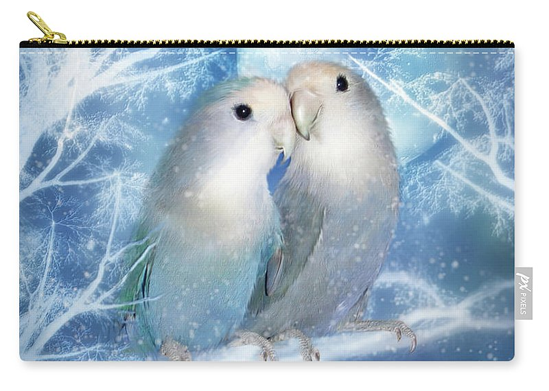 Lovebirds Carry-all Pouch featuring the mixed media Winter Love by Carol Cavalaris
