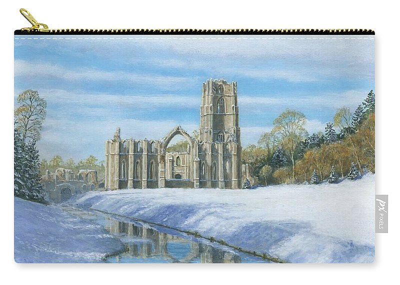 Landscape Carry-all Pouch featuring the painting Winter Morning Fountains Abbey Yorkshire by Richard Harpum