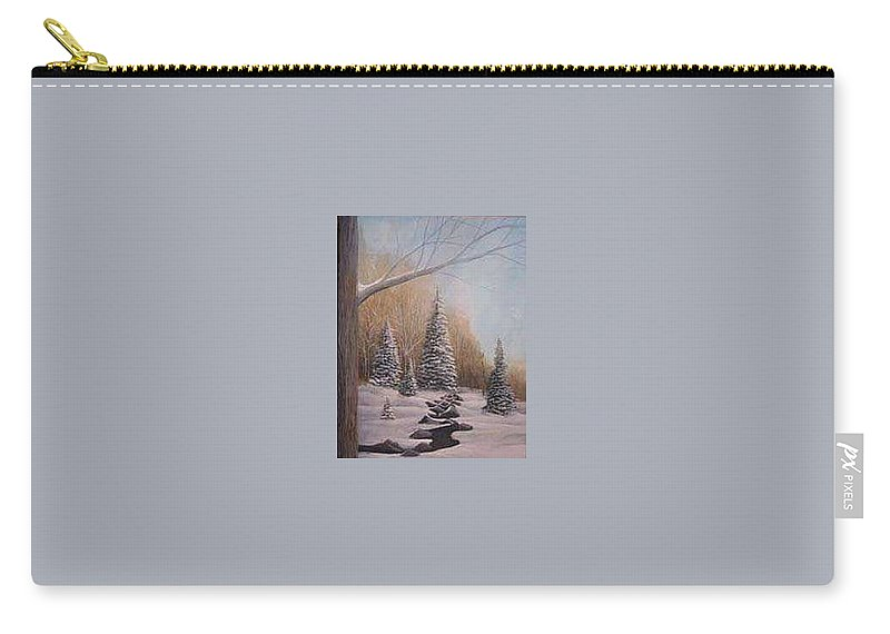 Rick Huotari Carry-all Pouch featuring the painting Winter Morning by Rick Huotari