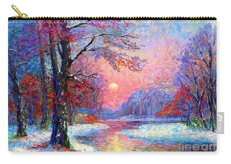 Tree Carry-all Pouch featuring the painting Winter Nightfall, Snow Scene by Jane Small