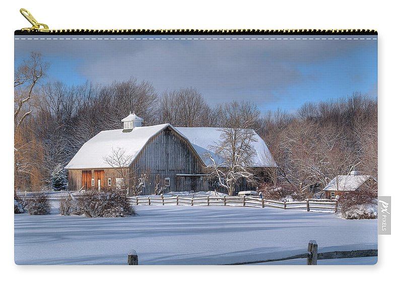 Barn Carry-all Pouch featuring the photograph Winter On The Farm 14586 by Guy Whiteley