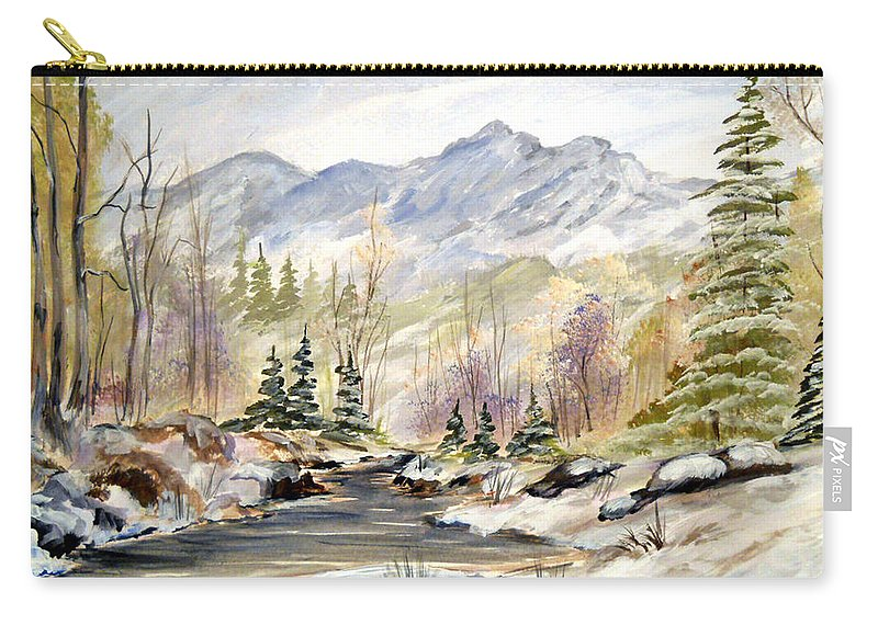 Winter Carry-all Pouch featuring the painting Winter On The River by Dorothy Maier