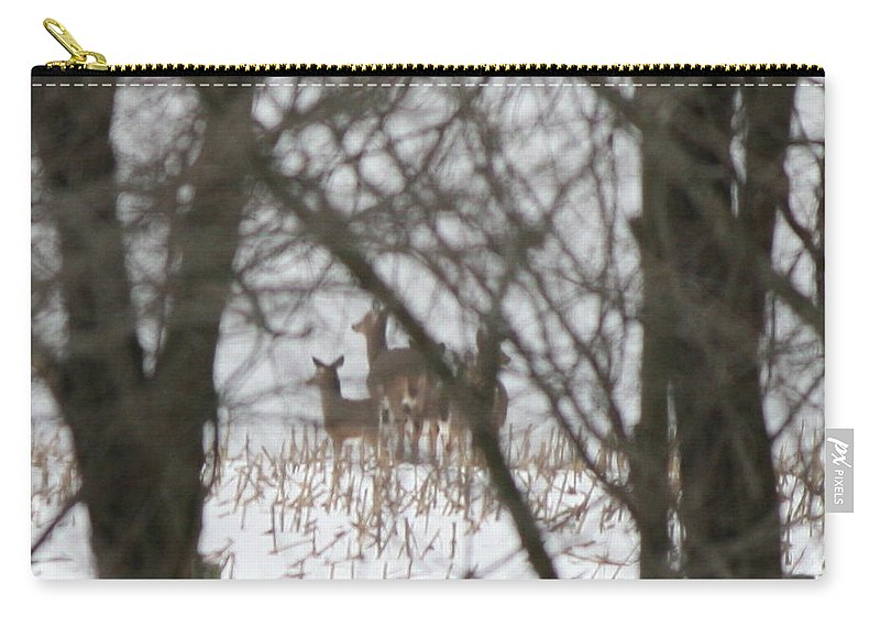 Deer Family Carry-all Pouch featuring the photograph Winter Family Pause by Neal Eslinger