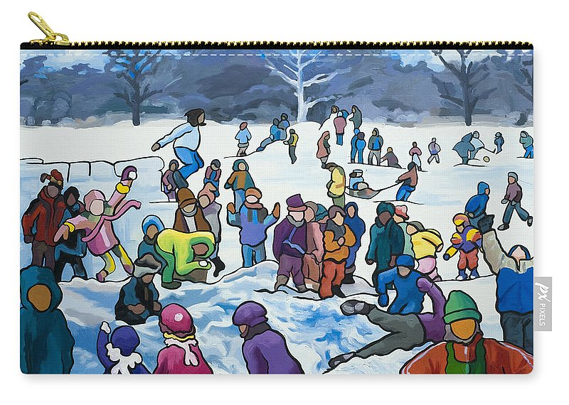 Winter Carry-all Pouch featuring the painting Winter Playground by Lynn Hansen