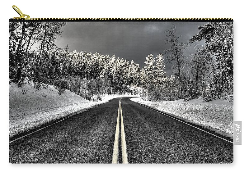 Canyon Carry-all Pouch featuring the photograph Winter Road by David Andersen