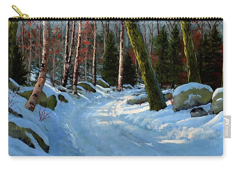 Landscape Carry-all Pouch featuring the painting Winter Road by Frank Wilson