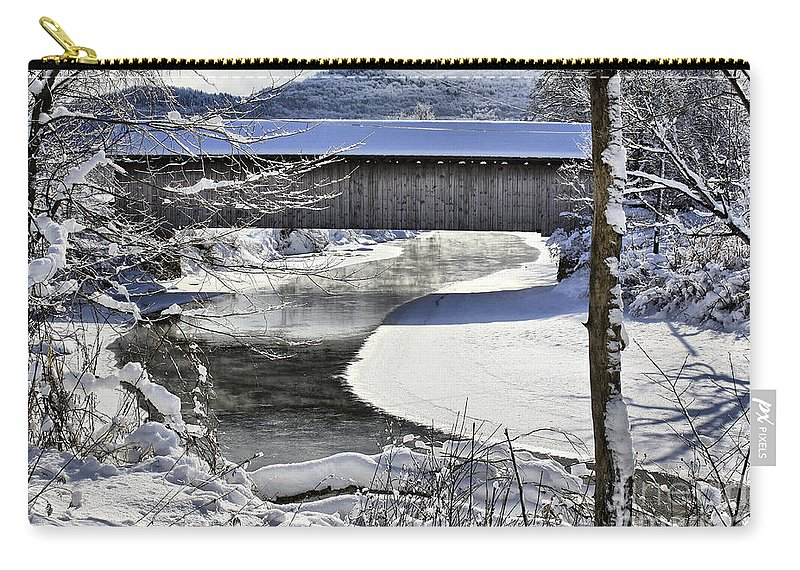 Brook Carry-all Pouch featuring the photograph Winter Scene In Montgomery by Deborah Benoit
