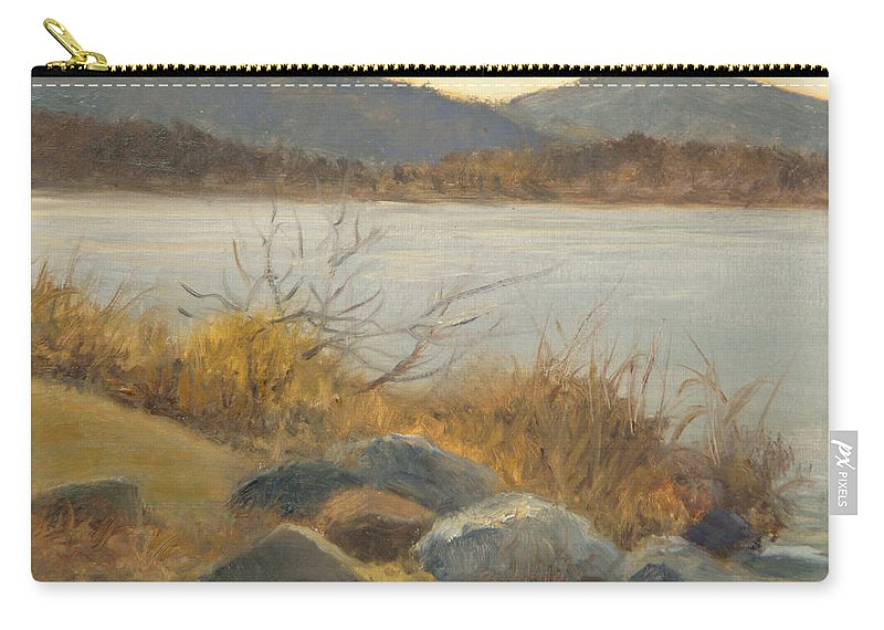 Landscape Painting Carry-all Pouch featuring the painting Winter Shoreline Rockland Lake by Phyllis Tarlow