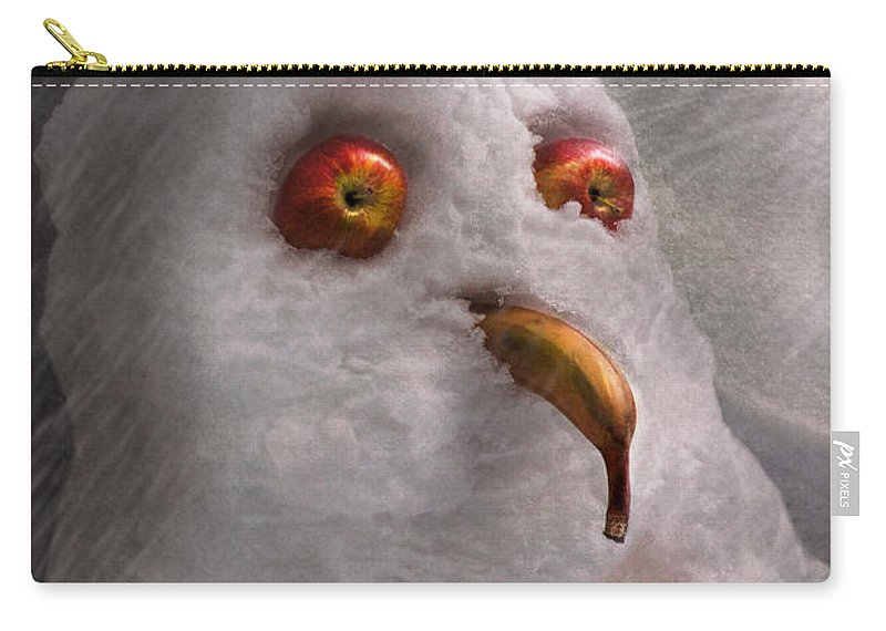Winter Carry-all Pouch featuring the photograph Winter - Snowman - What Are You Looking At by Mike Savad