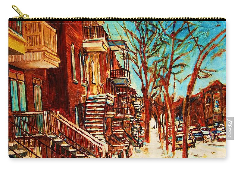 Verdun Paintings By Montreal Street Scene Artist Carole Spandau Carry-all Pouch featuring the painting Winter Staircase by Carole Spandau