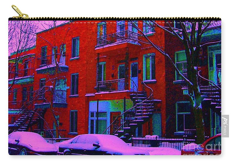 Montreal Carry-all Pouch featuring the photograph Winter Staircases Two by Carole Spandau