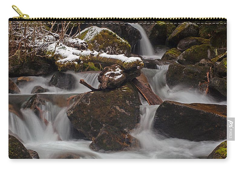 Stream Carry-all Pouch featuring the photograph Winter Stream Tranquility by Mike Reid
