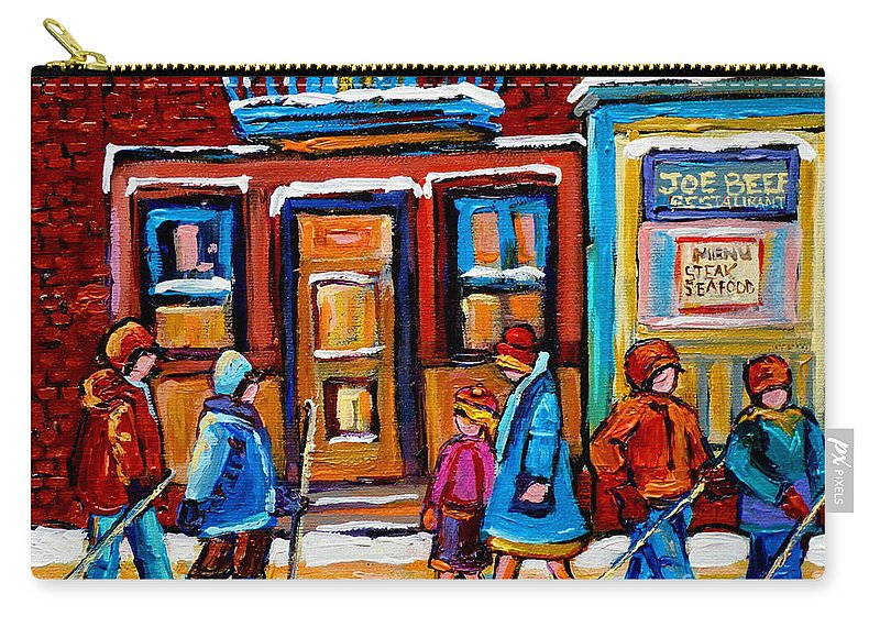 Montreal Carry-all Pouch featuring the painting Winter Street In Saint Henri by Carole Spandau