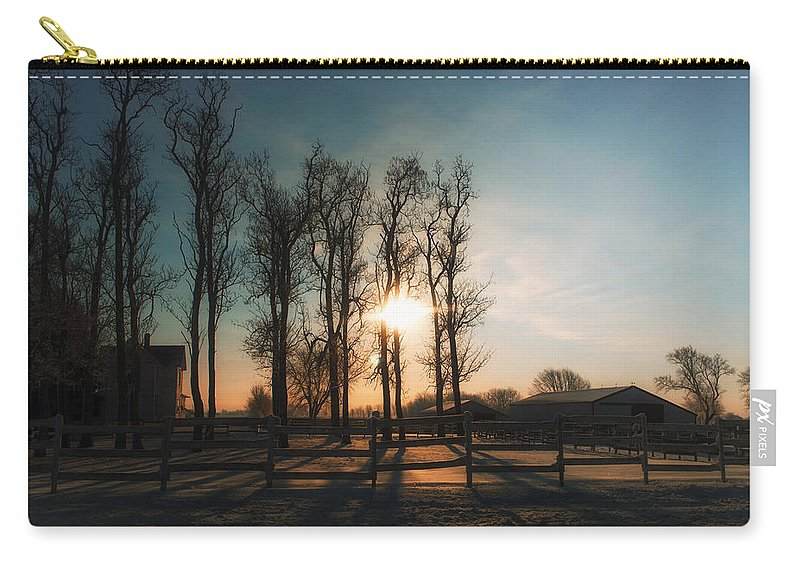 Sunrise Carry-all Pouch featuring the photograph Winter Sunrise On The Farm 01 by Thomas Woolworth