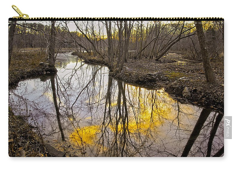 2d Carry-all Pouch featuring the photograph Winter Sunset At Williston Mill by Brian Wallace