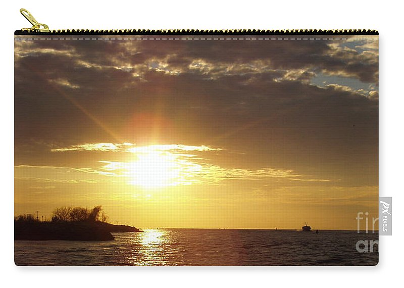 Winter Sunset Over Long Island Carry-all Pouch featuring the photograph Winter Sunset Over Long Island by John Telfer