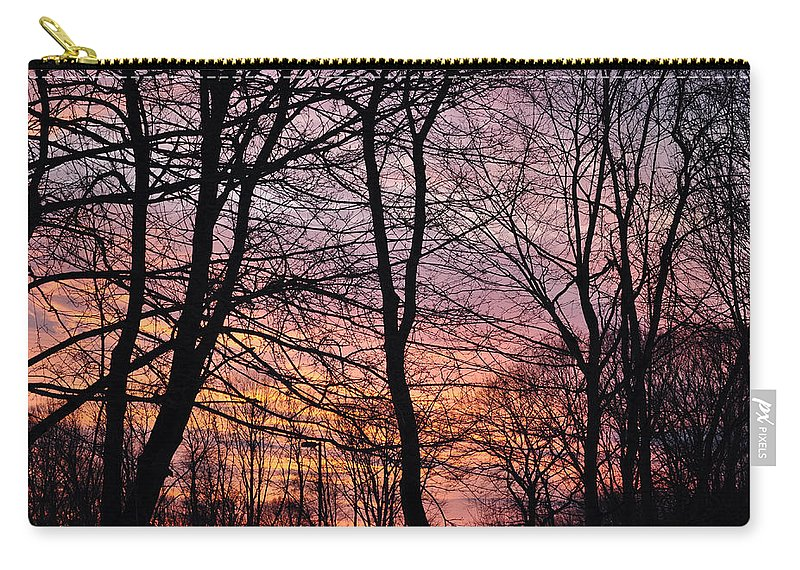 Trees Carry-all Pouch featuring the digital art Winter Sunset Wsp by Jim Brage