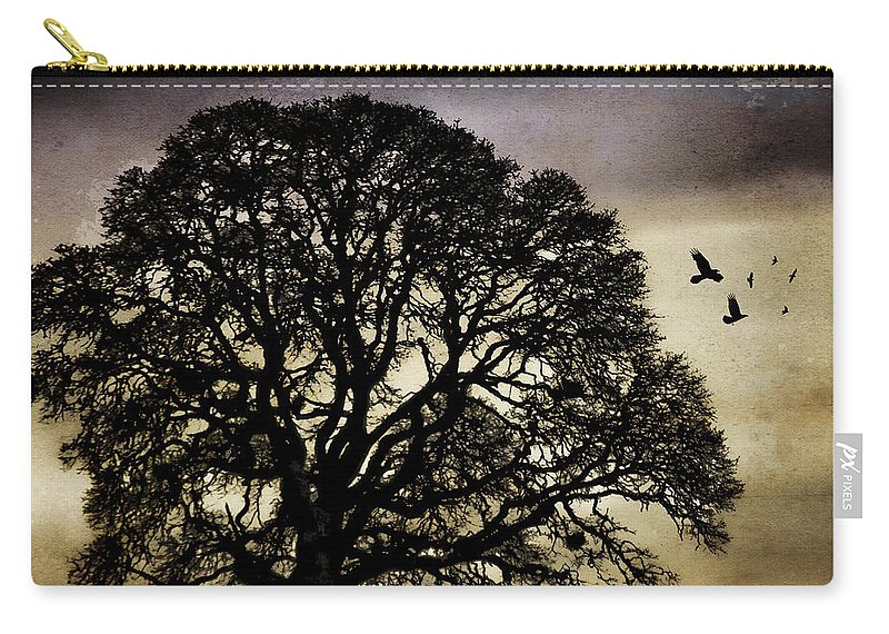 Oak Carry-all Pouch featuring the photograph Winter Tree And Ravens by Carol Leigh
