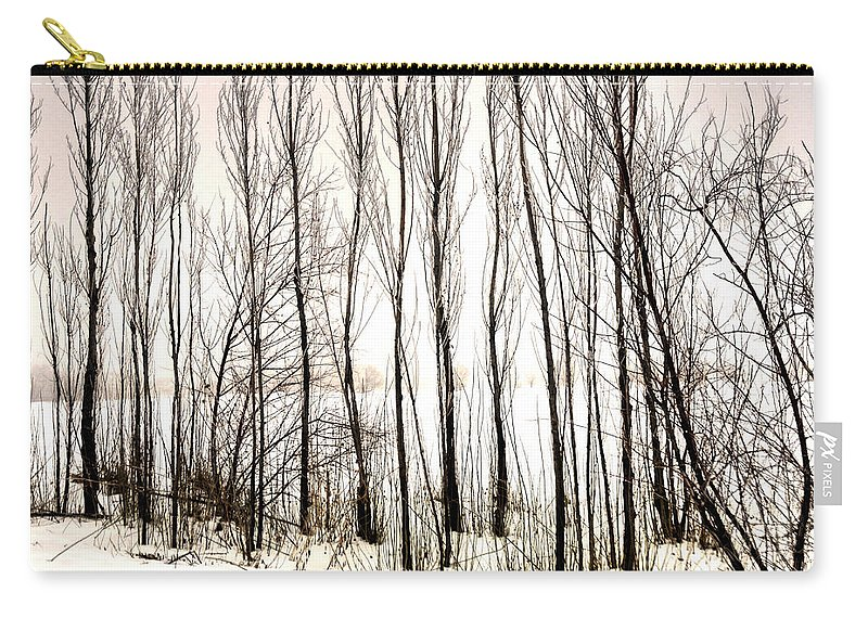 Season Carry-all Pouch featuring the photograph Winter Tree Fence 13283 by Jerry Sodorff