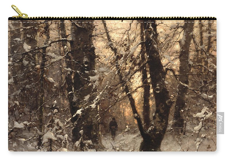 Winter Carry-all Pouch featuring the painting Winter Twilight by Ludwig Munthe