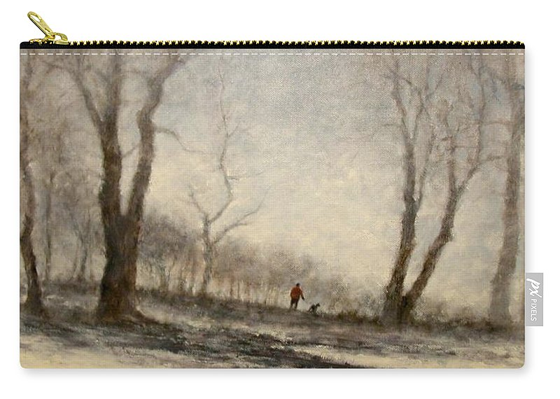Landscape Carry-all Pouch featuring the painting Winter Walk by Jim Gola