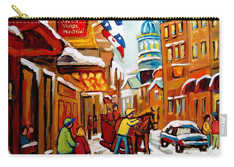 Montreal Carry-all Pouch featuring the painting Winter Walk Montreal by Carole Spandau