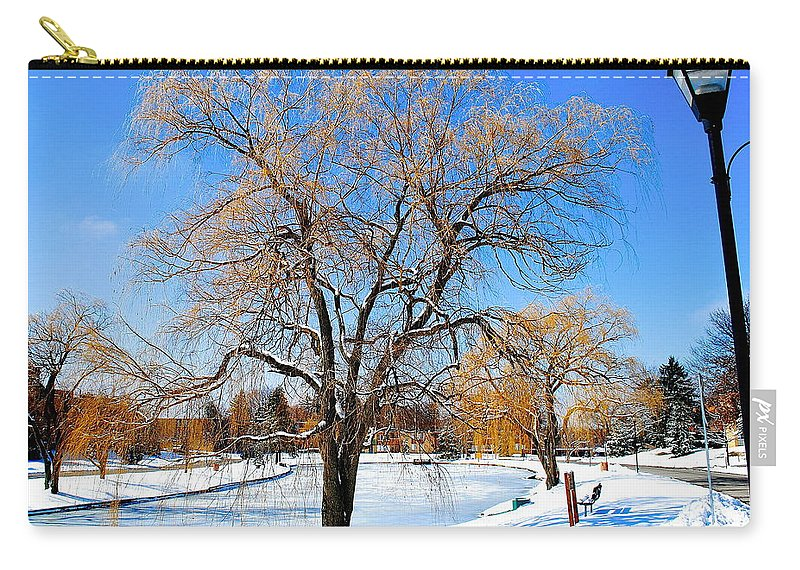 Willow Carry-all Pouch featuring the photograph Winter Willow by Frozen in Time Fine Art Photography