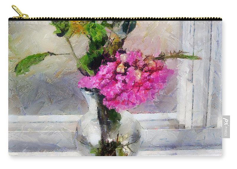 Flowers Carry-all Pouch featuring the painting Winter Windowsill by RC DeWinter