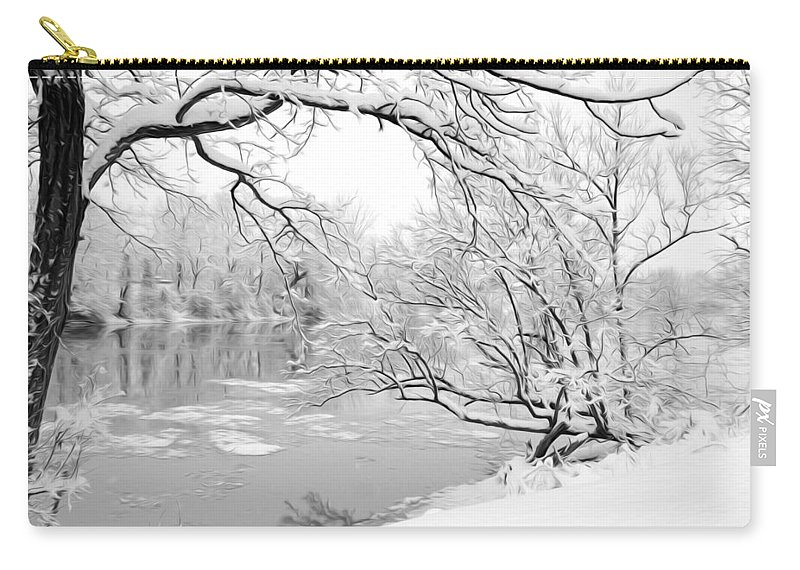 Snow Carry-all Pouch featuring the photograph Winter Wonderland In Black And White by Tracy Winter