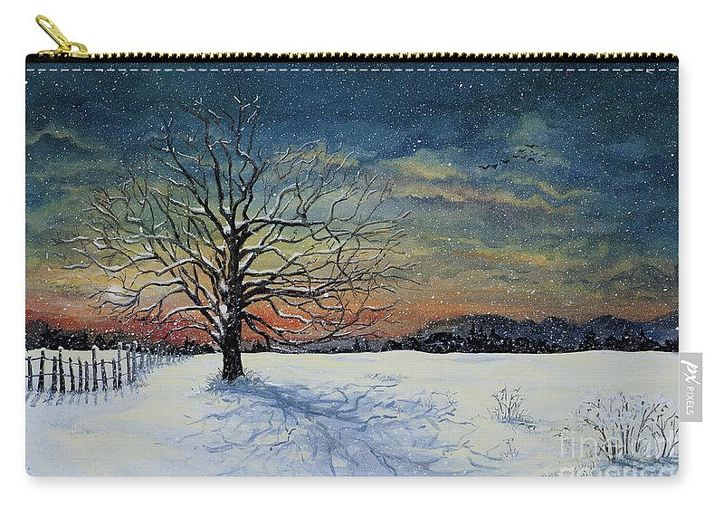 Oak Tree Carry-all Pouch featuring the painting Winters Eve by Mary Palmer