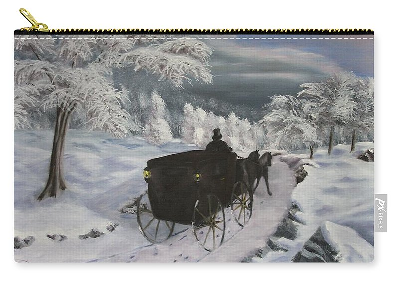 Landscape Carry-all Pouch featuring the painting Winters Journey by Lou Magoncia