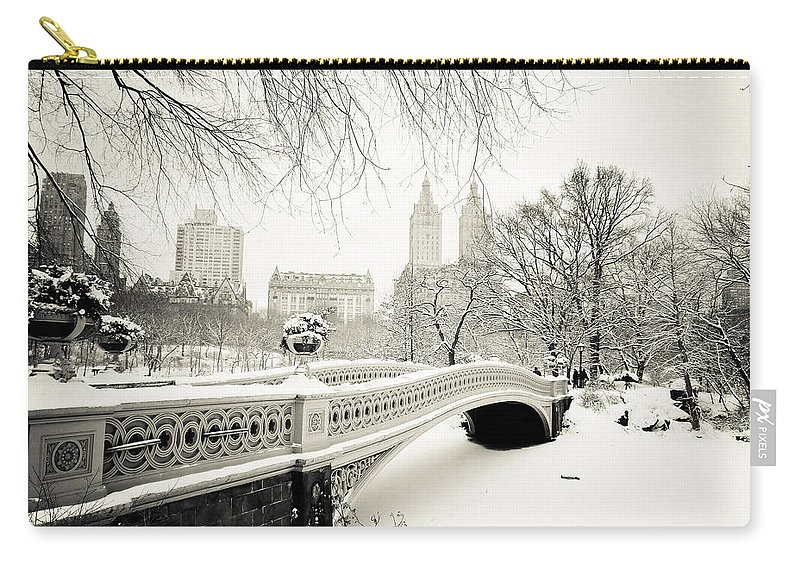 New York City Carry-all Pouch featuring the photograph Winter's Touch - Bow Bridge - Central Park - New York City by Vivienne Gucwa