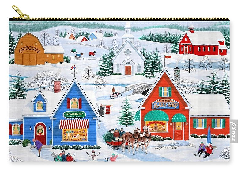 Folk Art Carry-all Pouch featuring the painting Wintertime In Sugarcreek by Wilfrido Limvalencia