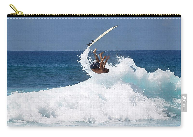 Surfing Carry-all Pouch featuring the photograph Wipe Out by Athala Carole Bruckner