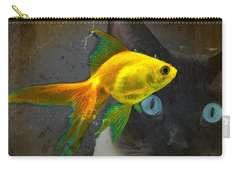 Cat Carry-all Pouch featuring the painting Wishful Thinking - Cat And Fish Art By Sharon Cummings by Sharon Cummings