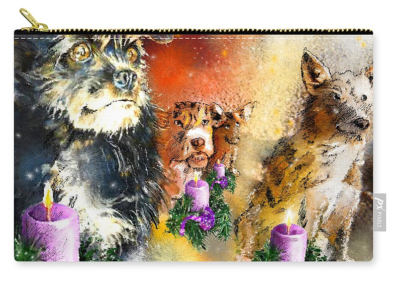 Advent Art Carry-all Pouch featuring the painting Wishing You A Blessed Advent by Miki De Goodaboom