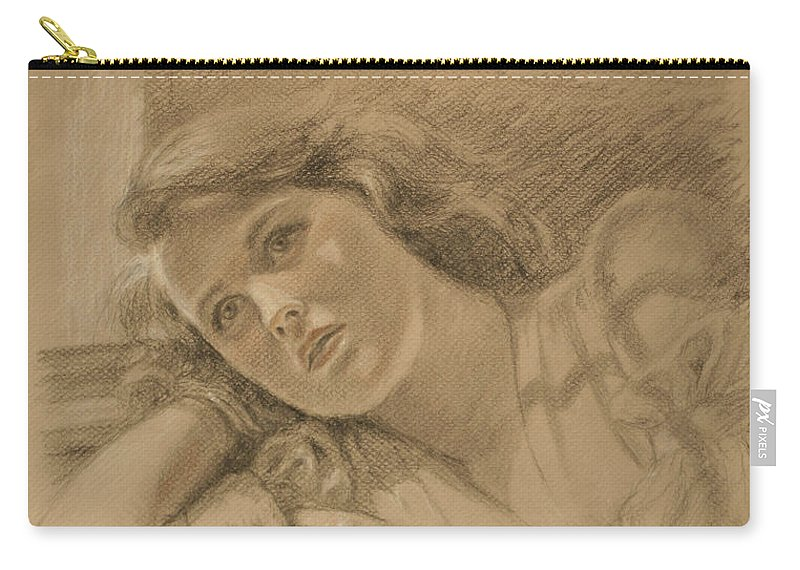 Drawing Carry-all Pouch featuring the drawing Wistful - Drawing by Sarah Parks