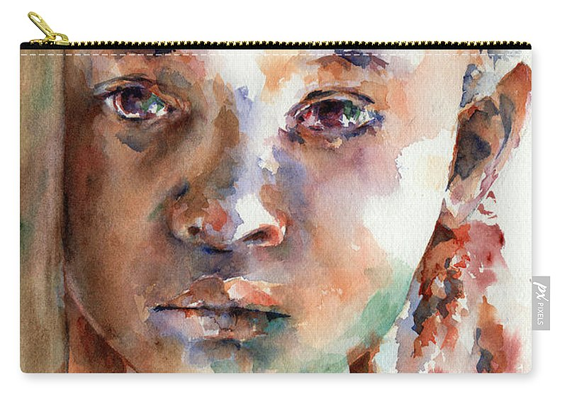 Girl Carry-all Pouch featuring the painting Wistful by Stephie Butler