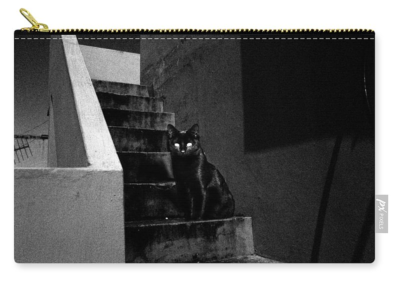 Wallpaper Buy Art Print Phone Case T-shirt Beautiful Duvet Case Pillow Tote Bags Shower Curtain Greeting Cards Mobile Phone Apple Android Nature Cats Cat Halloween Horror Creepy Witch Ghost Photoshop Photography Salman Ravish Khan Carry-all Pouch featuring the mixed media Witch's Cat In Moonlight... by Salman Ravish