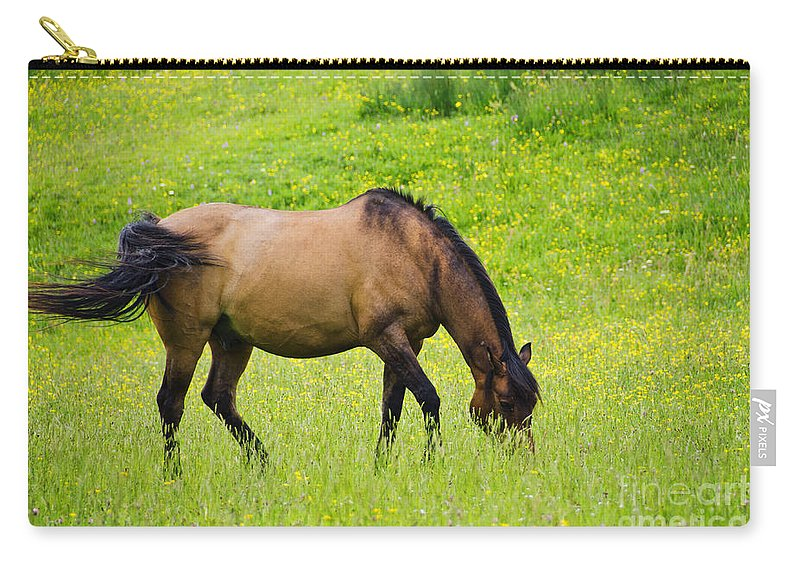 Horse Carry-all Pouch featuring the photograph With A Swoosh Of The Tail by Susie Peek