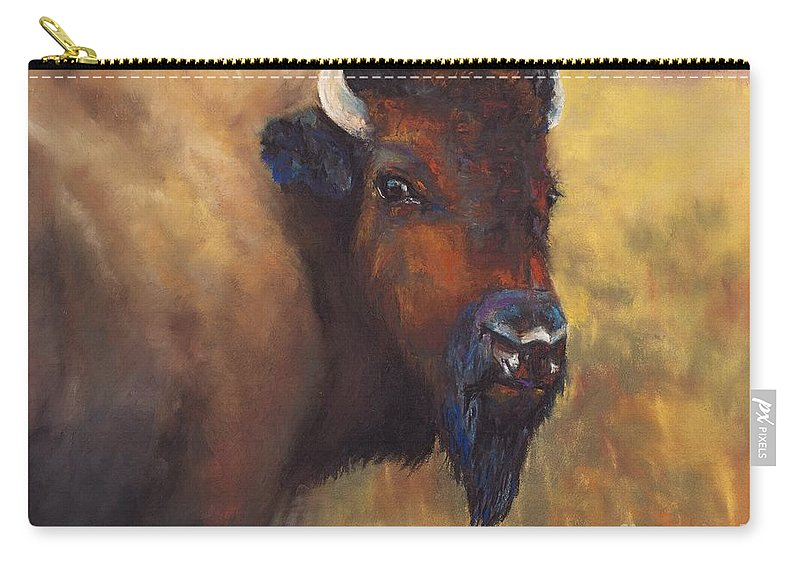 Bison Carry-all Pouch featuring the painting With Age Comes Beauty by Frances Marino