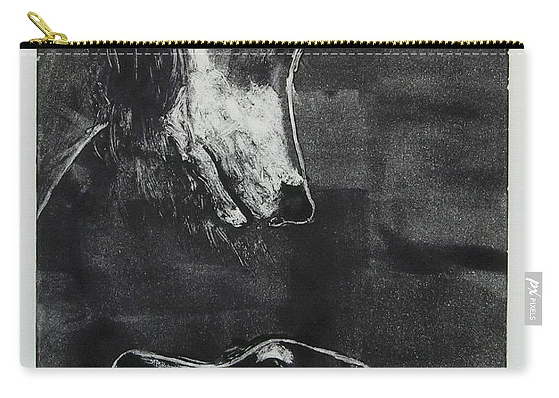 Saluki Carry-all Pouch featuring the mixed media With Love by Cori Solomon