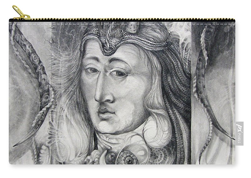 Wizard Carry-all Pouch featuring the drawing Wizard Of Bogomil's Island - The Fomorii Conjurer by Otto Rapp