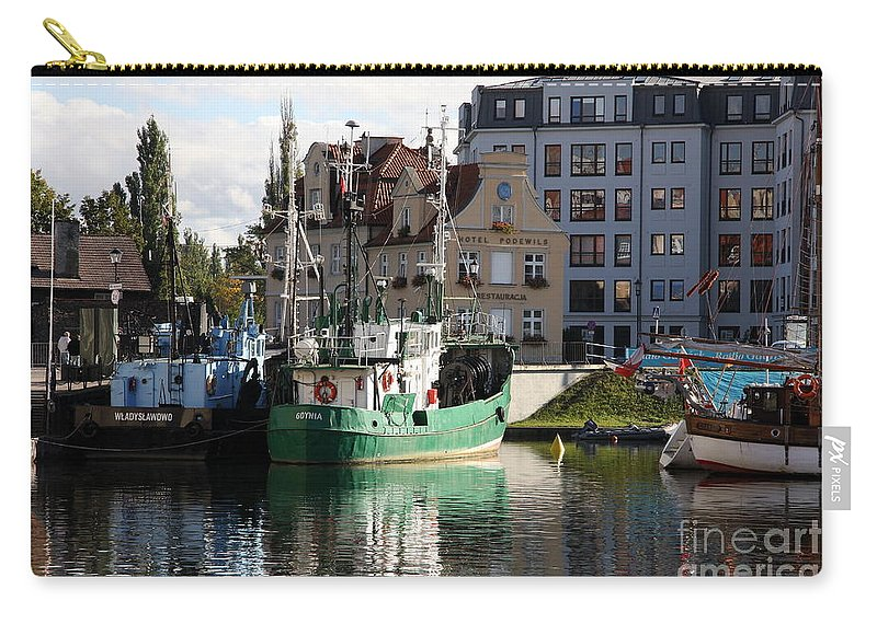 Reflection Carry-all Pouch featuring the photograph Wladyslawowo And Gdynia In Gdansk Harbor by Christiane Schulze Art And Photography